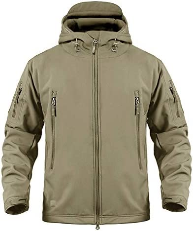 CRYSULLY Men's Outdoor Climbing Windproof Tactical Soft Shell Jacket Fleece  Hooded Coat Small Beige: Buy Online at Best Price in UAE - Amazon.ae