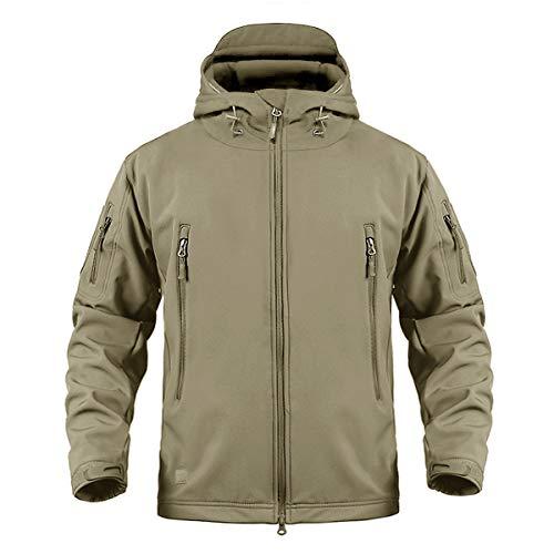 CRYSULLY Men Autumn Winter Mens Mountain Fishing Rain Hunting Shell Jacket Ski Coat Khaki