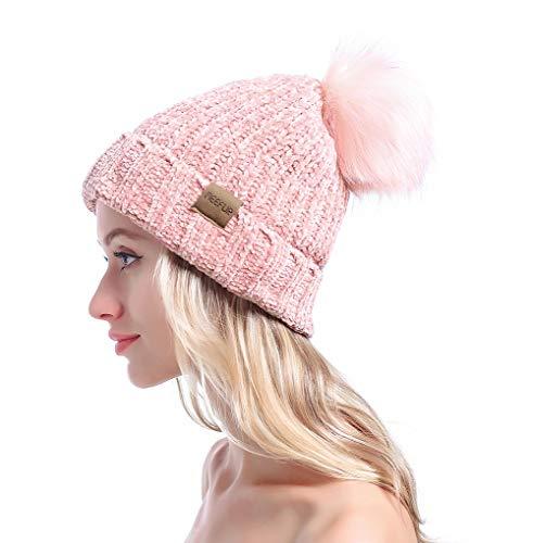 MEEFUR Womens Winter Pom Pom Beanie Crochet Adorable Trendy Hat Snow Knit Ski Bobble Cap Pink