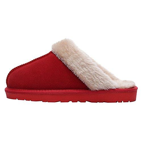 Confortable Doublée Chaussons Chambre Suédé Yirenhuang Chaude Fourrure Femmes Intérieur Cuir Mules Hommes de Chaussures Rouge Douillet wzxSESqAn