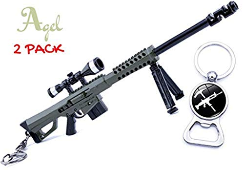 Agel Pack Heavy Sniper Rifle M82A1 and Exclusive Bottle Opener Metal Keychain Premium Weapons Toys -