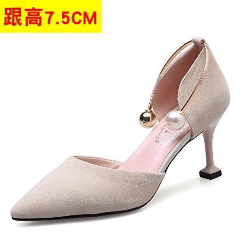 VIVIOO Women'S Sandals High-Heeled Sandals High-Heeled Shoessummer Tip High-Heeled Stiletto Shoes Sneakers Hollow Sandals Pearl Heel Shoes Cat Heels Beige 7.5CM