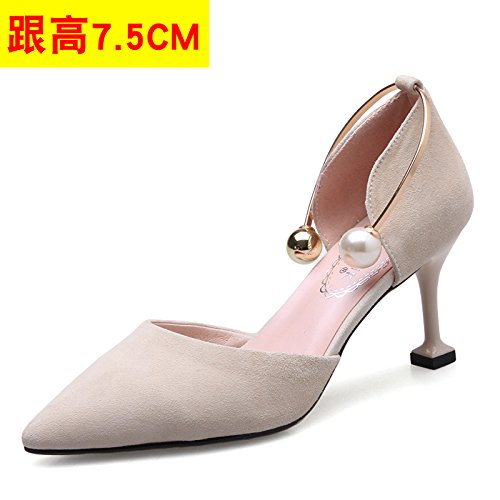 Sandals Cat Sandals Stiletto VIVIOO Shoes Heel High Heels High Sandals Shoes Women'S Beige 7 Sneakers Heeled Hollow Heeled Heeled Pearl Shoessummer High 5CM Tip q5w4HpZ5