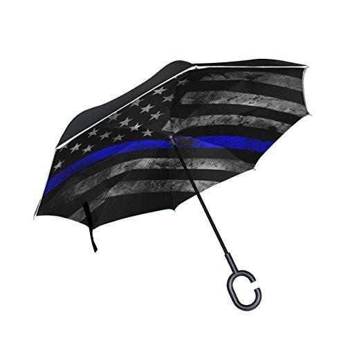 - Reverse Umbrella, Blue Thin Line Us Flag, Outdoor Windproof Double Layer Inverted Umbrella Rain Protection Upside Down Auto Car Reverse UV Umbrellas for Men Women