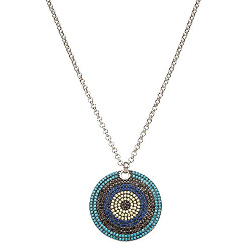 Evil Eye Necklace Shades of Blue Sterling Silver