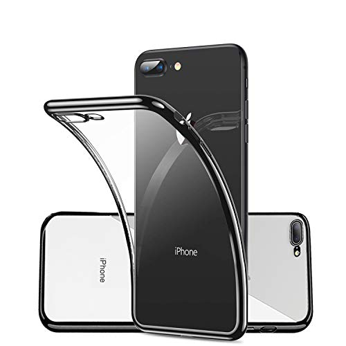 Clear Silicone Phone Case for iPhone 7 Plus/8 Plus 7Plus 8Plus,Ultra Slim Thin Fit Soft TPU Cover with Electroplated Black Bumper and Transparent Neo Hybrid Crystal,Anti Yellowing/Scratch/Fingerprint