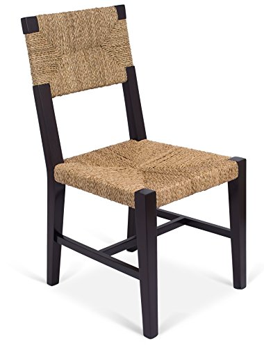 BIRDROCK HOME Rush Weave Side Chair - Set of 2 - Traditionally Woven Kitchen Dining Room Chair - Wooden Furniture - Fully Assembled - Black Finish