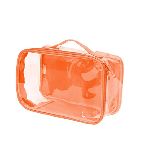 Clear Toiletry Makeup Bag, Cosmetic Organizer, Travel Case, PVC Plastic w Handle Orange