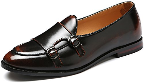 - Men's Classic Plain Toe Leather Double Monk Strap Oxford Loafer Slip On Driving Formal Dress Shoes (6.5, Bronze)
