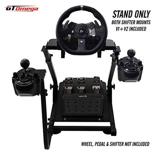 GT Omega Racing Wheel Stand for Logitech G920 Driving Force Gaming Steering Wheel & Pedals, PS4, Xbox, Ferrari, PC - Pre Drilled, Foldable, Tilt-Adjustable to Ultimate Simulator Racing Experience