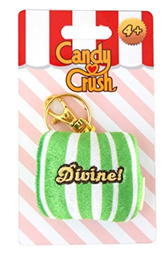 Candy Crush Sega Plush Keychain Clip - Green Chiclet Striped Divine (Commonwealth Games Costumes)
