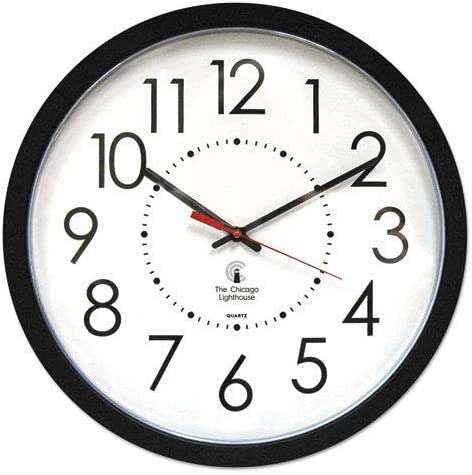 Electric Contemporary Clock, 14-1 2, Black