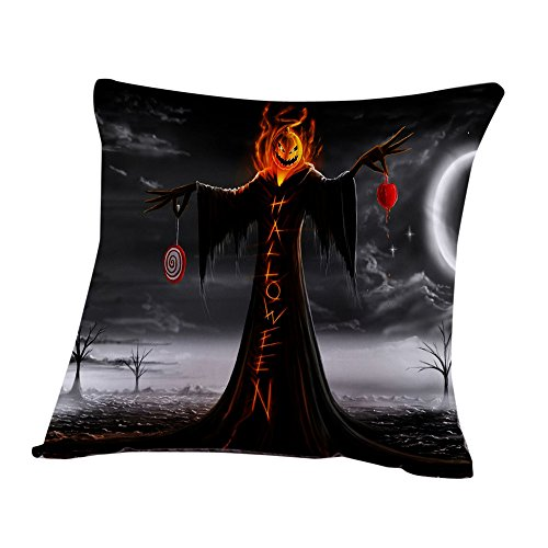 Happy Halloween Pillow Cases,Napoo 2017 New Cat Pumpkin Witch Patterns Cushion Cover Linen Home Decor For Sofa Party Bedroom (H)
