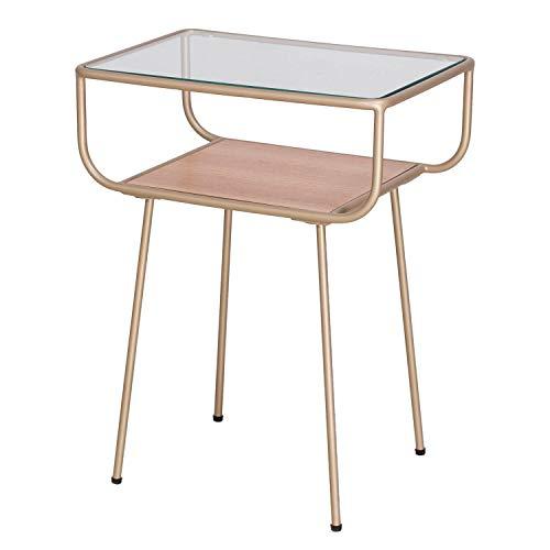 Damiware Nino - Mesita de noche de diseno, mesa de cristal, mesa auxiliar, mesa de cafe, mesa de metal (dorado), cristal y metal, mesa de salon pequena en 46 x 31,5 x 58,5 cm, color dorado