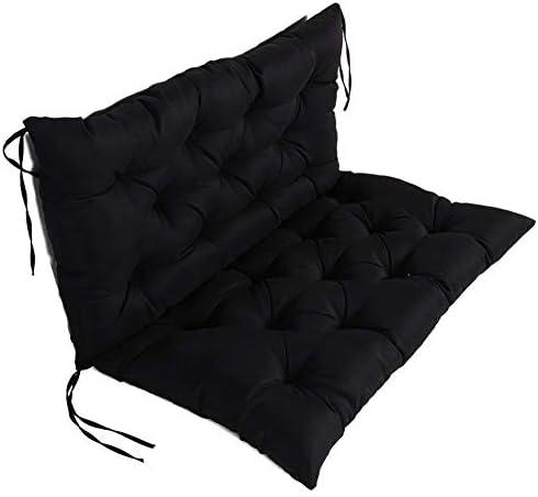 Rubyu Garden Sitzkissen mit Rückenteil, Bankauflage Sitzpolster Weiche Atmungsaktive Bänke Kissen, für Gartenbänke im Freien Liegen, Schwarz, 100 x 100 x 10cm
