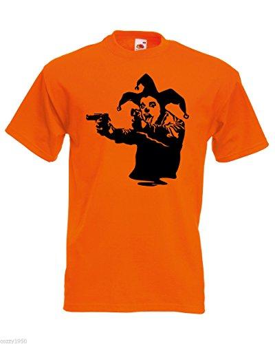 Free Jester Bansky T Art Graffiti uomo con Design Street Joker regalo Decal Pistols Orange Clown casuale shirt wq74wH