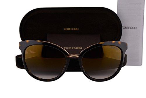Tom Ford FT0461 Emma Sunglasses Dark Havana Gold w/Brown Gradient Lens 52G - Aviator Sunglasses Gold Tiffany