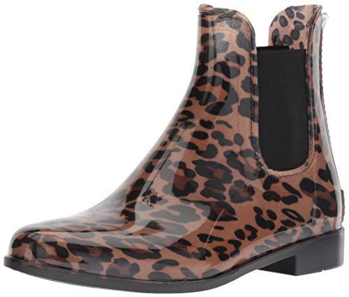 LifeStride Women's Puddle Rain Bootie Boot, Leopard, 10 M US