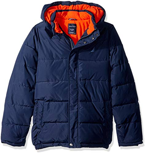 Nautica Boys' Big Water Resistant Signature Bubble Jacket with Storm Cuffs, Sport Navy, Large (14/16)
