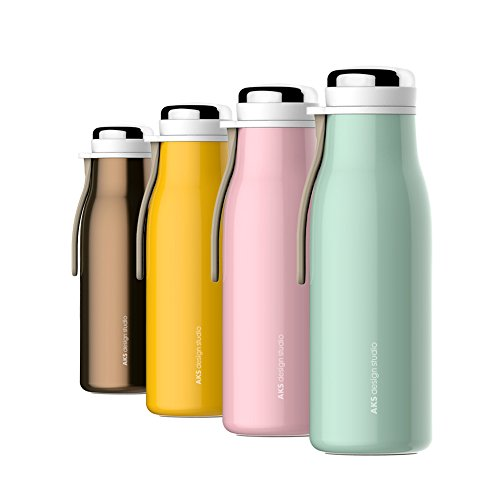 AKS Vacuum Insulated Stainless Steel Water Bottle Leak Proof Sweat Proof Travel Mug (Brown, 17oz)