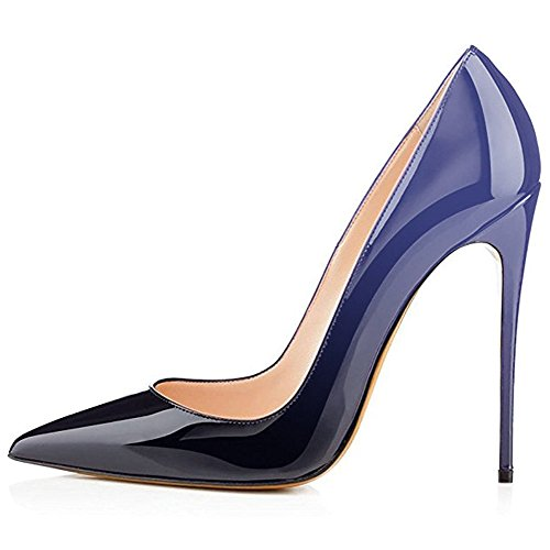 omen's Pointed Toe High Heel Slip On Stiletto Pumps Evening Party Basic Shoes Plus Size-Blue-Black 7.5 M US (Blue Patent Pointed Toe Heels)