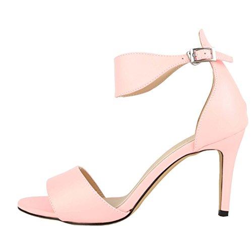 HooH Women's Simple Ankle Strap Buckle Dress Sandals Pink