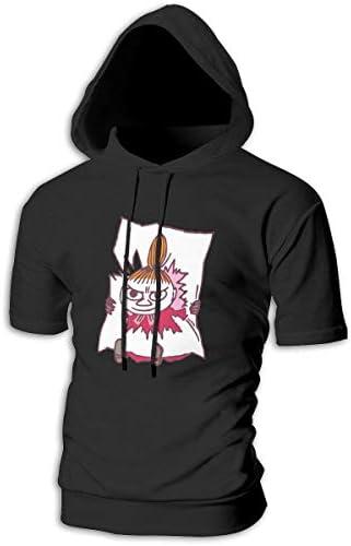 Tシャツ シャツ ティーシャツ スウェットシャツ パーカー ストレッチ メンズ 半袖 フード付き ムーミン スポーツtシャツ 吸汗速乾 トレーニング ジムtシャツ 通気性 黒