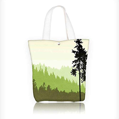 Canvas Tote Bag Nature Theme Pine Tree Silhouette on an Abst