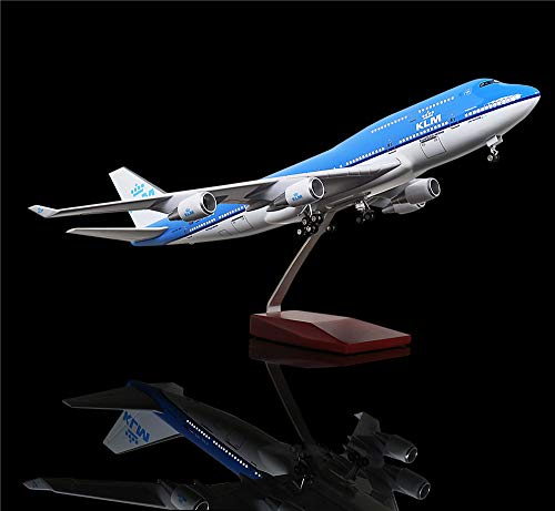 (LESES 1:130 Scale LED Light Model Airplane Holland Boeing 747 18 inches Resin Display Plane Model)