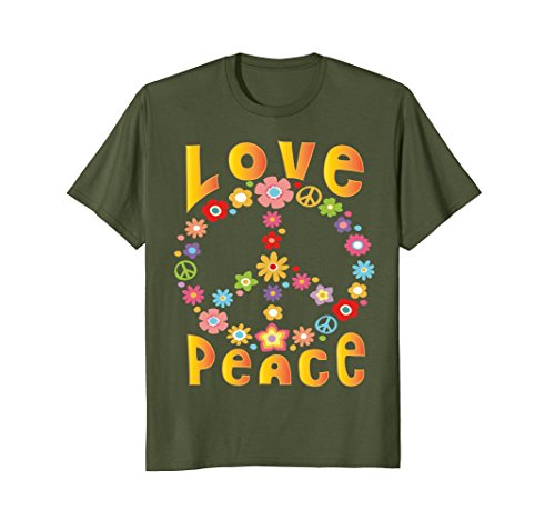 Mens LOVE PEACE FREEDOM T-Shirt 60s 70s Tie Dye Hippie Shirt XL (60s 70s Green)