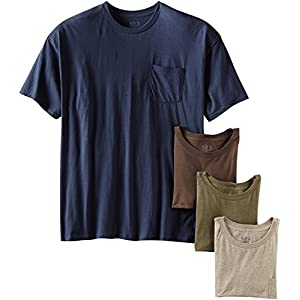 """byFruit of the Loom Fruit of The Loom Men's Pocket Crew Neck T-Shirt (Pack of 4) (Assorted Earth Tones, Large/42-44"""" Chest)"""