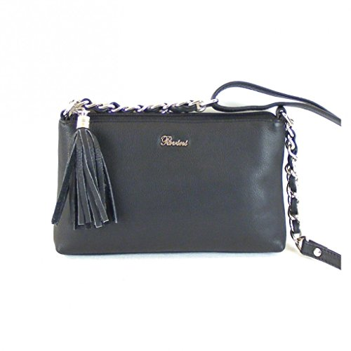 Pavini Damen Tasche Crossovertasche Bari Echt-Leder schwarz 15393 Handyfach