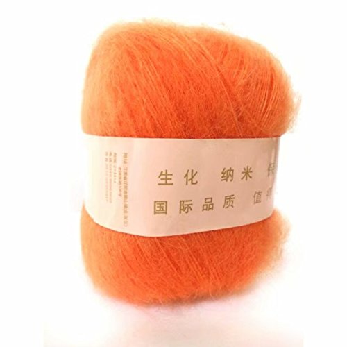 Celine lin One Skein Soft&Warm Angola Mohair Cashmere Wool Knitting Yarn 50g,Orange