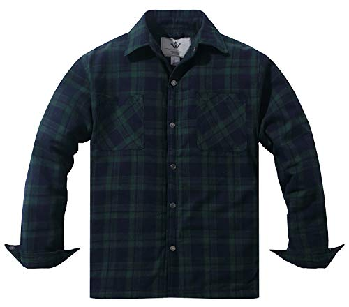 WenVen Men's Flannel Thermal Lined Button-Down Shirt Jacket(Blackish Green,M