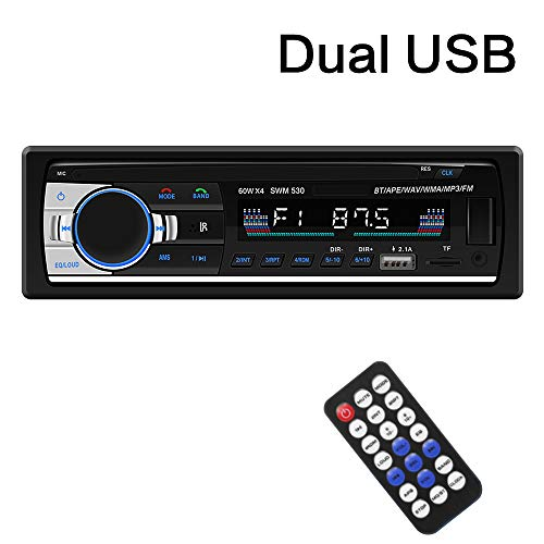 SARCCH Multimedia Car Stereo - Single Din LCD, BT Audio and Calling, Built-in Microphone, MP3 Player, WMA, USB, Auxiliary Input, FM Radio Receiver, Wireless Remote Control