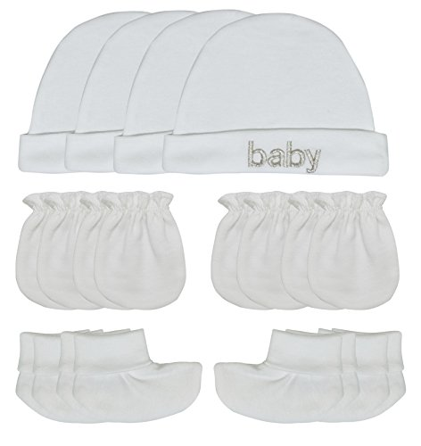 Songbai Baby Gift Set Caps Socks and Mittens For Newborn Boys Girls (Newborn, 4-set/pure white)