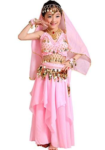 Astage Kids Belly Dance Costume Dress Set Red Small(Fits 7-8 (Harem Princess Costume)