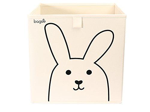 Foldable Toy Storage Box - Bedroom Bin Organizer Kids Nursery Cube Basket (Rabbit, Beige)