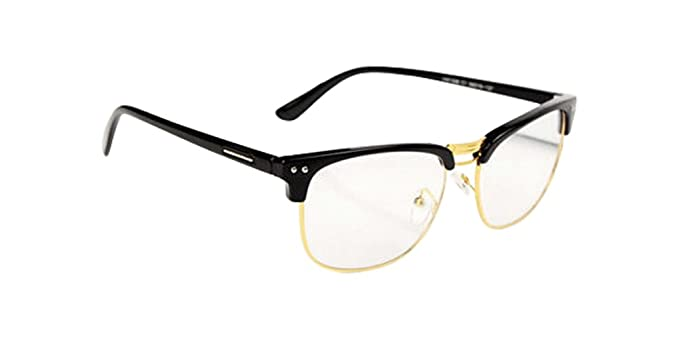 glasses hipster black gold fashion hipster vintage retro classic half frame glasses clear lens nerd eyewear