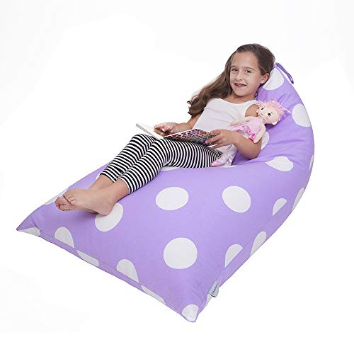 Butterfly Craze Stuffed Animal Storage Bean Bag Chair – Stuff 'n Sit Toy Bag Floor Lounger for Kids, Teens and Adult |Extra Large 200L/52 Gal Capacity |Premium Cotton Canvas (Purple)