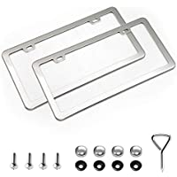 XCLPF 2 Pcs 2 Holes Stainless Steel Silver License Plate Frame,Car Licenses Plate Covers Holders Frames for Plates with…