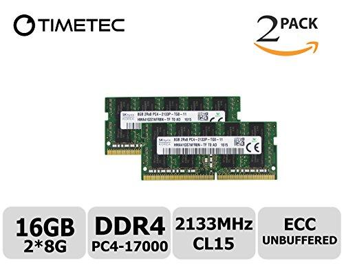 Timetec Hynix 16GB KIT (2x8GB) DDR4 2133MHz PC4 17000 ECC Unbuffered 1.2V CL15 2Rx8 Dual Rank 260 Pin Sodimm Server Memory Ram Module Upgrade (HMA41GS7AFR8N-TFT0) (16GB KIT (2x8GB))