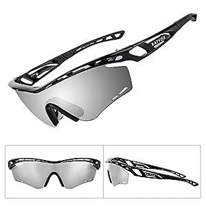 BATFOX Polarized Sports Sunglasses Memory Metal Glasses Leg for Men Women Cycling Running Driving Fishing Golf Baseball tr90 Soccer softball adults hiking ladies runners teens Joggingt (Silver)