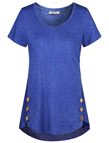 SeSe Code T Shirts for Women,Ladies Tops Short Sleeve Casual Tunic Basic Tees Design Soft Knits Swing Solid Color Loose Fitting Cute Outfits Blue Medium ()