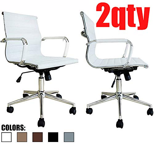2xhome - Set of Two (2) - White - Modern Mid Back Ribbed, used for sale  Delivered anywhere in USA
