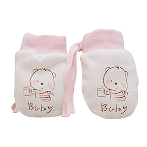 Pink Left Handed Golf Glove (FEITONG Newborn Baby Boys Girls Cartoon Anti Scratch Mittens Soft Rope Thickness Gloves)