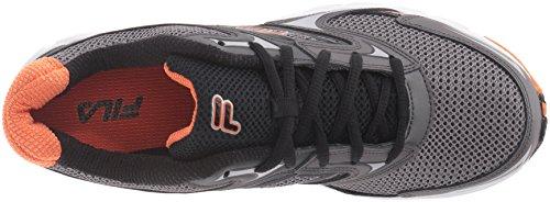 Fila Men's Xtent 4 Running Shoe, Dark Silver/Black/Vibrant Orange, 9.5 M US