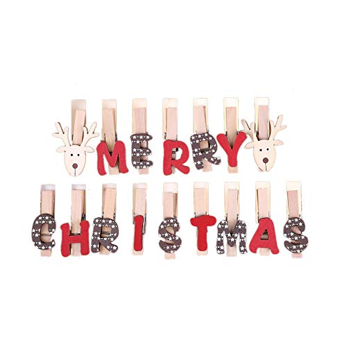 (Merry Christmas Rope Wooden Clothes Photo Paper pin Clothespin Craft Wood Clip Christmas Wooden Clothespins Mini Snowflake Clothespin Clips Christmas Cards Photo Paper Crafts)