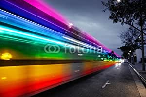 Rainbow Traffic Blur en Night city (43641486), Alu-Dibond, 80 x 50 cm