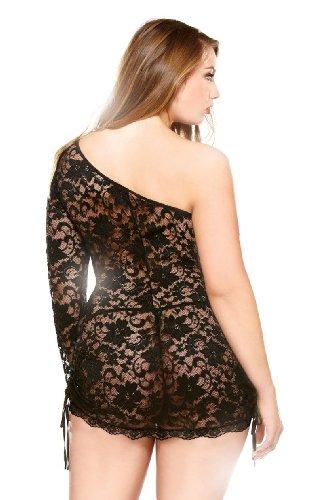 NNW Plus Size Women's Curve Plus Size One Shoulder Lace Mini Dress